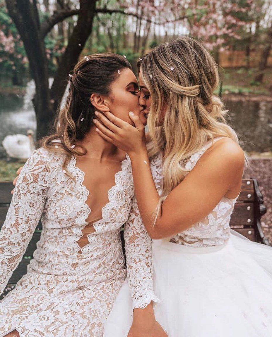 """LOVE HARD, HONEY on Instagram: """"So I can kiss you anytime I want ♥️ . ✨This is a styled shoot featuring a real LGBTQ+ couple✨ . Lovers @kateaustinn @sarsulsenti  Captured…"""""""