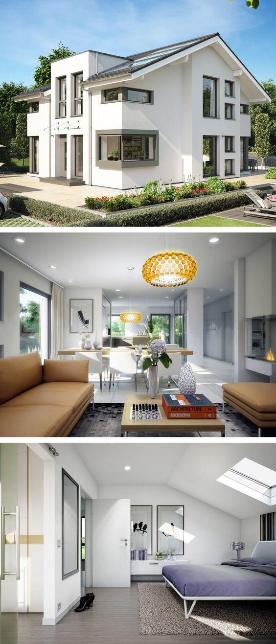 Moderne einfamilienhaus architektur mit satteldach for Moderne architektur einfamilienhaus