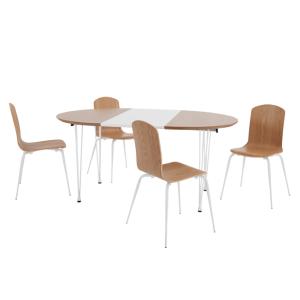 Ryland table  rallonges et ensemble de 4 chaises chªne et blanc