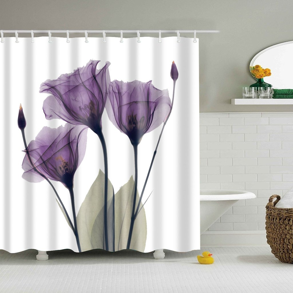 Romantic Flora Purple Plum Tulip Shower Curtain Bathroom Decor