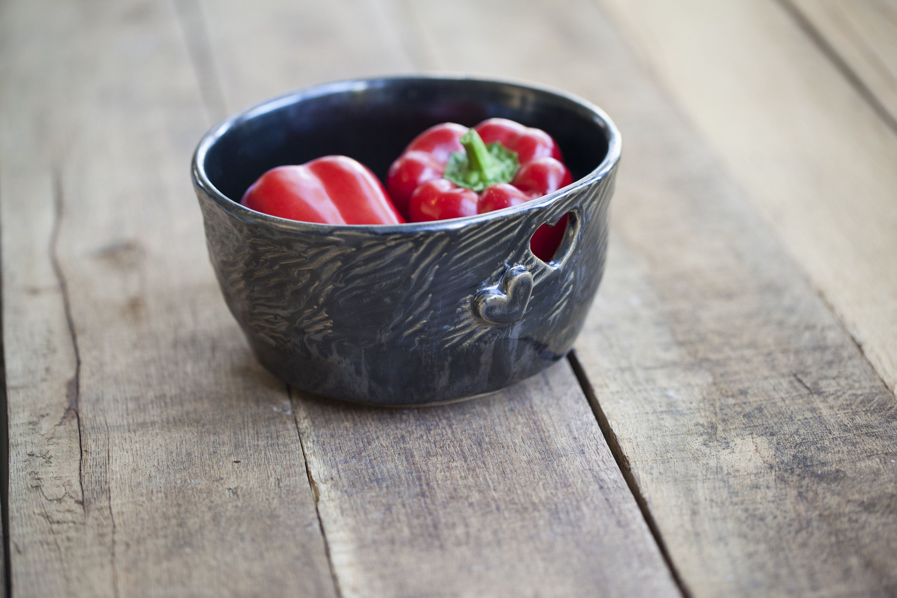 Decorative Ceramic Bowl With Pierced Rim Heart Wedding Gift