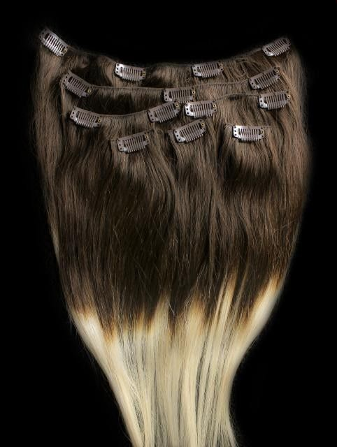 26 100 Remy Human Ombre Hair Extensions Clip In T4 613 Ebay