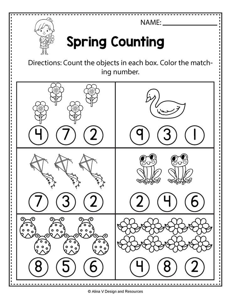 Spring Counting Spring Math Worksheets and activities