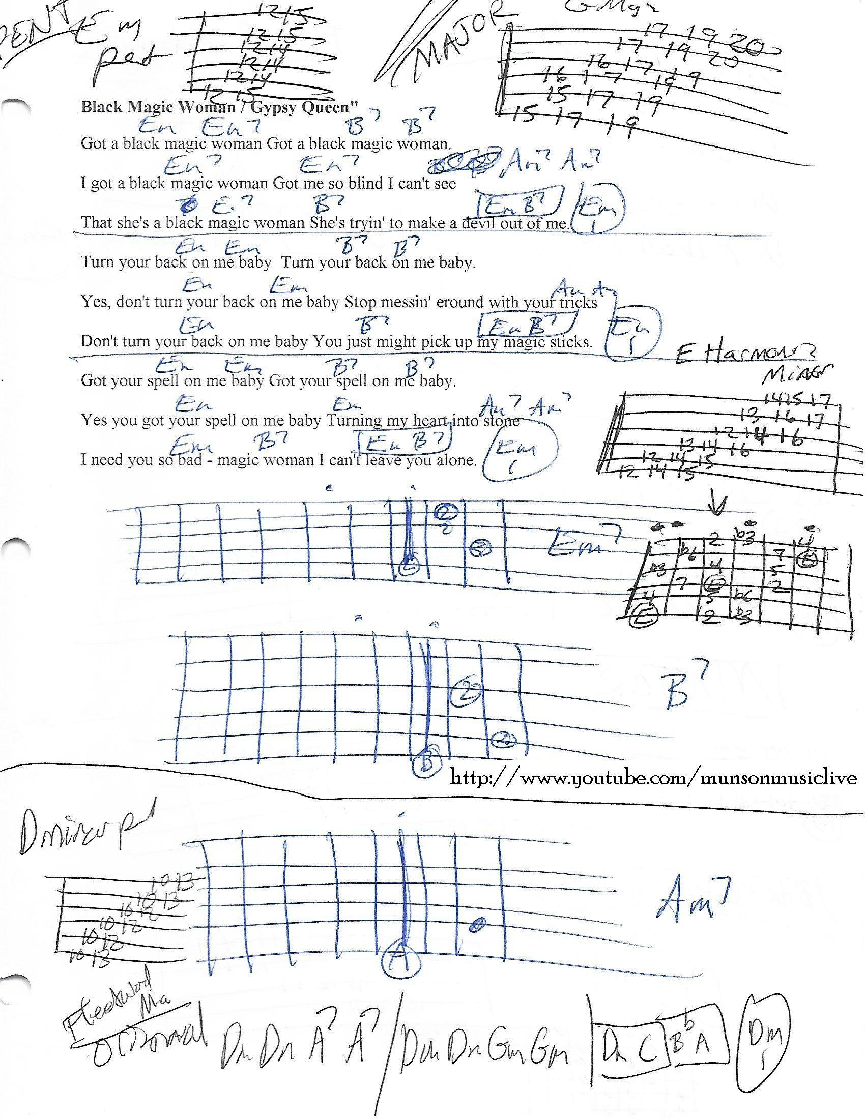 Black Magic Woman Guitar Chord Chart In Em Minor Guitar Lesson