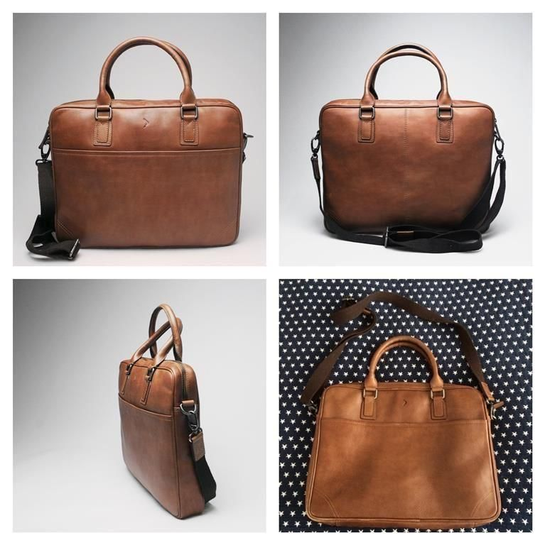 Boomerang portfölj i skinn läder skinnväska väska brun