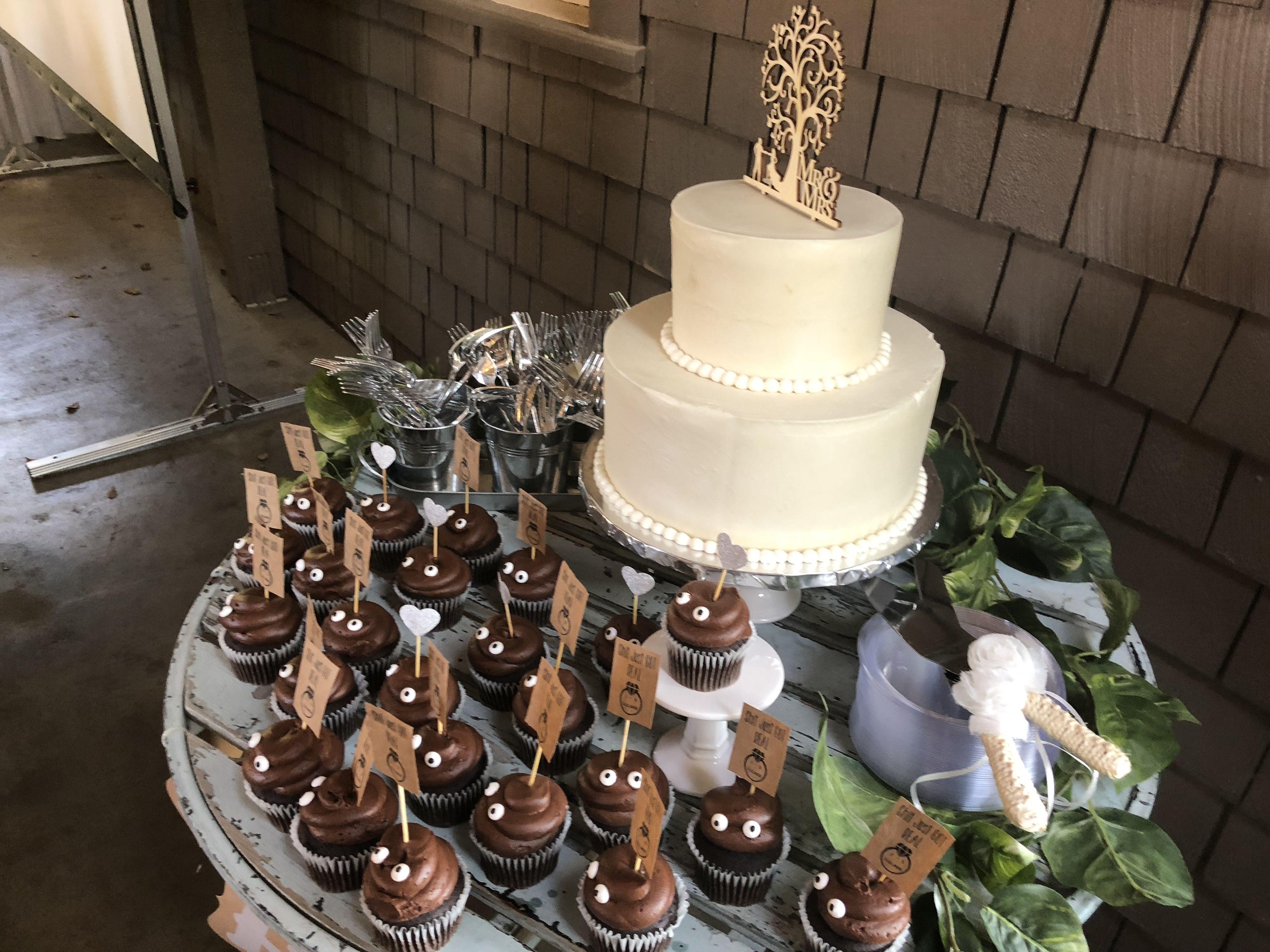 Poo Emoji Cupcakes Wedding Cake Rustic