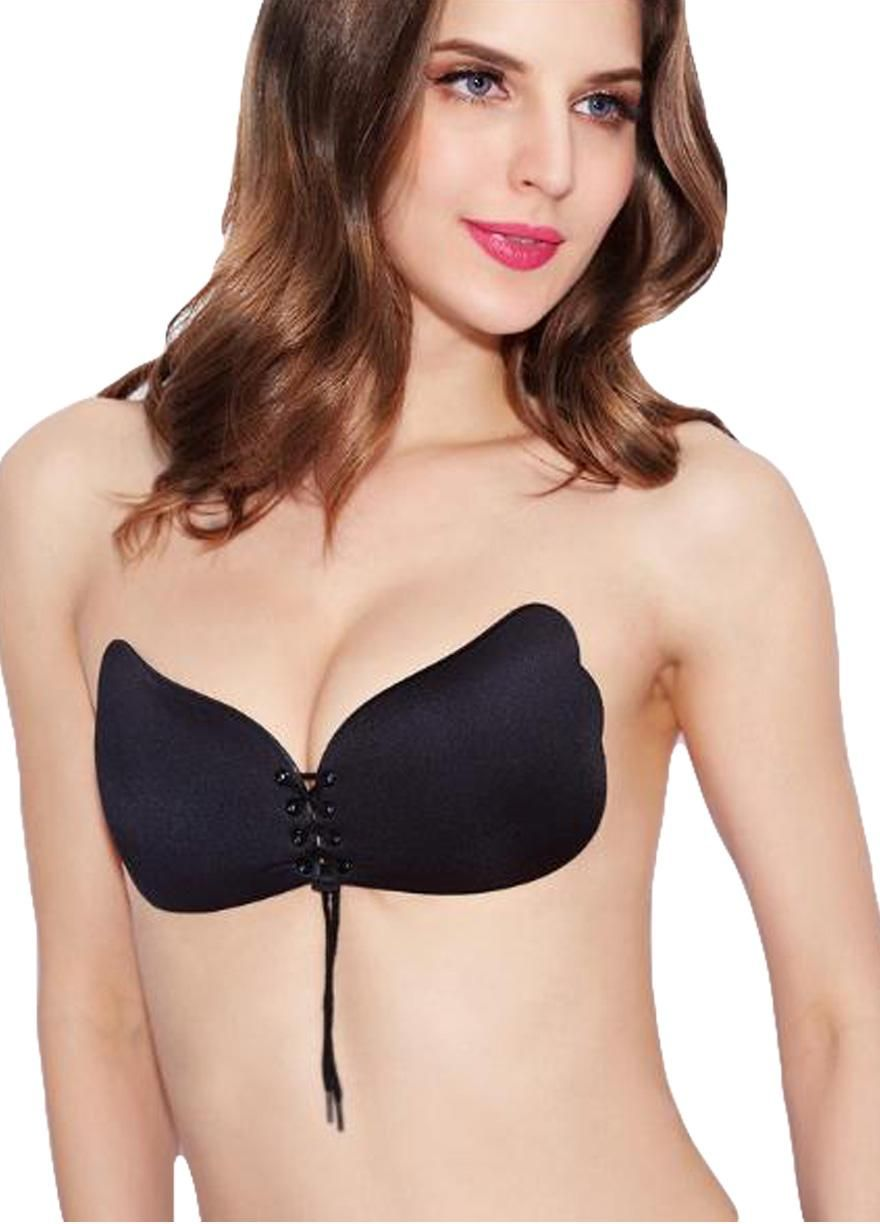 404d2bf81153d Multi holes Lace-up Invisible Silicone Push Up Bra