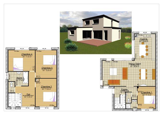 Resultat De Recherche D Images Pour Plan Maison Moderne 100m2 Etage