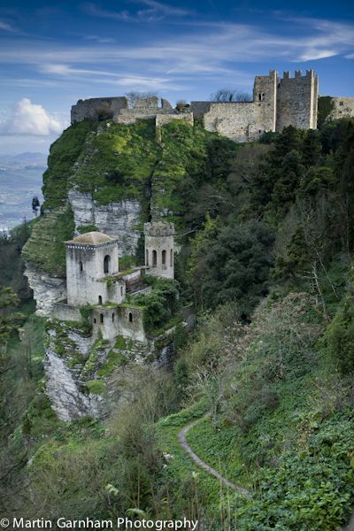 Erice a historic town in Sicily, Italy - There are two castles that remain in the city: Pepoli Castle, which dates from Saracen times, and the Venus Castle, dating from the Norman period, built on top of the ancient Temple of Venus.