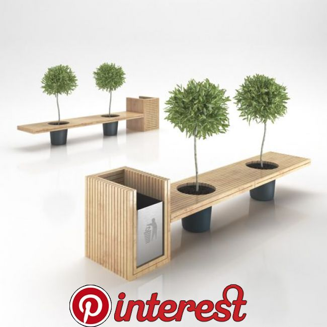 Wooden Eco Design Bench With Integrated Trash Bin 3D Model