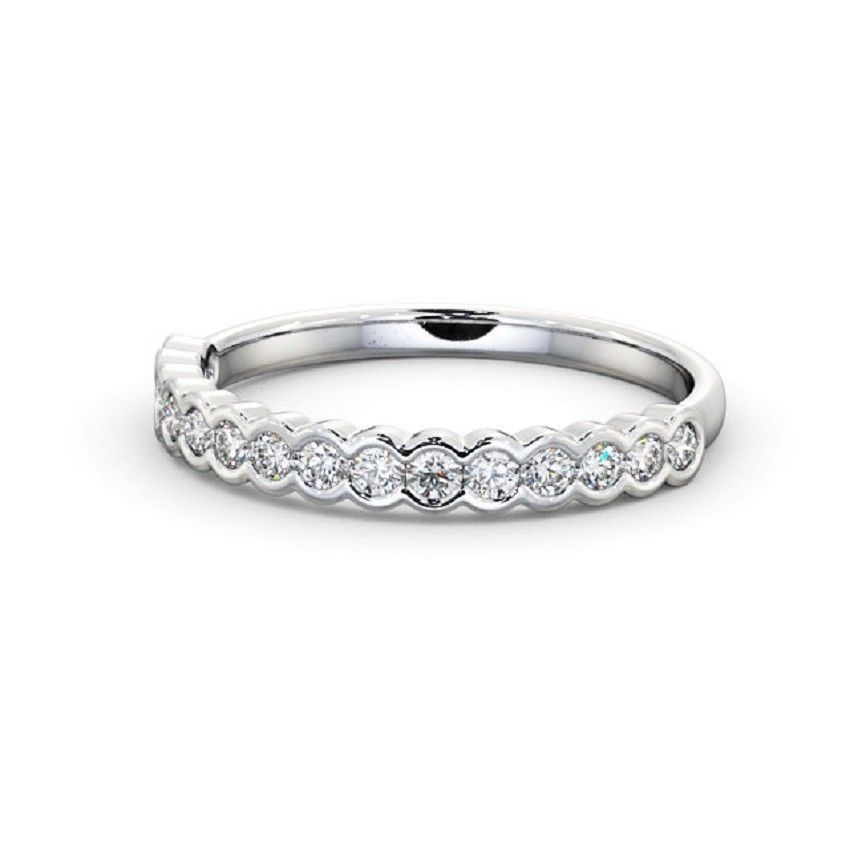 0.25 Carat Petite Twist Round Diamond Full Eternity Wedding Ring in 18k White Gold 1TQ77uUOF