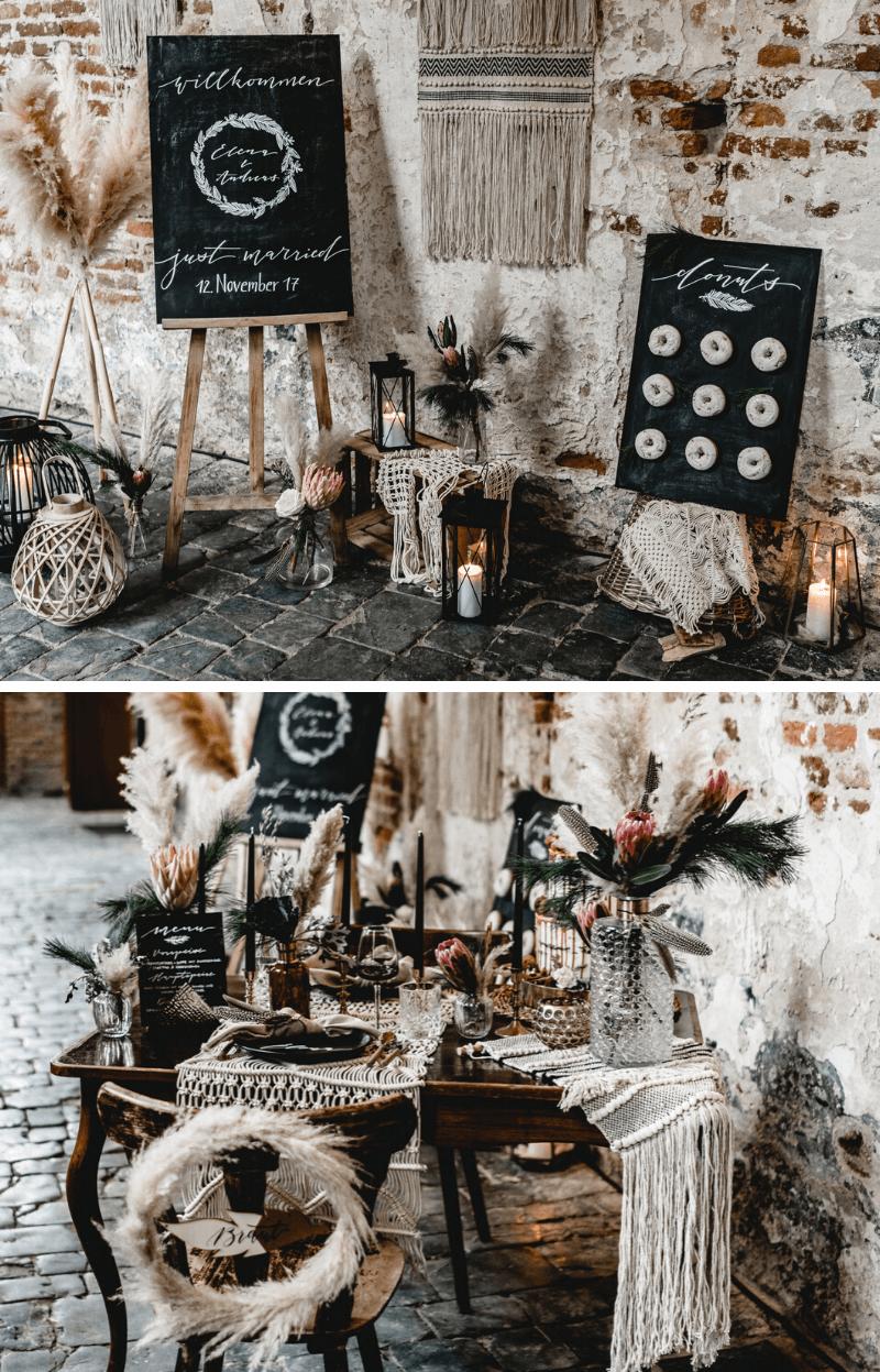 Dramatic Black Boho Hochzeit mit Pampasgras – Hochzeitskiste