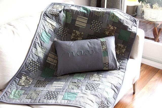 baby boy quilt & pillow by aespada18, via Flickr