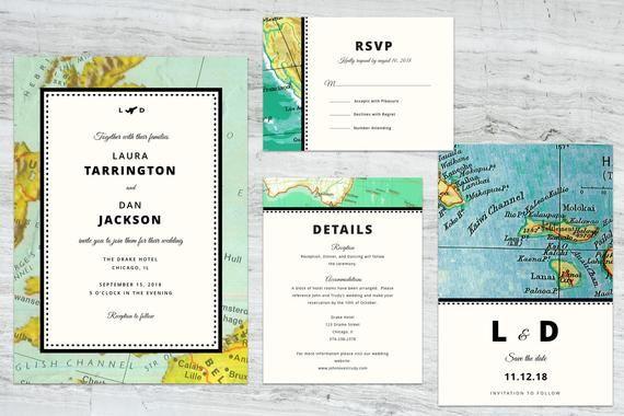 vintage map travel wedding invitation set printable template retro