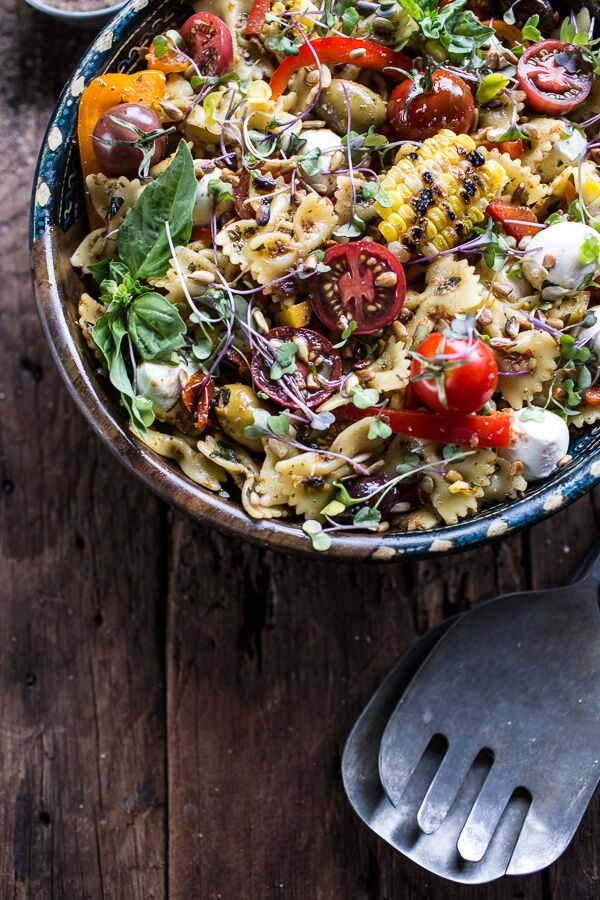 Everything But The Kitchen Sink Pasta Salad Hbh Recipe Delicious Salads Pasta Salad Recipes Healthy Recipes