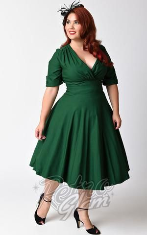 51a76ba2b717 Unique Vintage 1950s Style Emerald Green Delores Swing Dress front   pinupdresses  holidaydresses  christmas  rockabilly  vintage  pinup