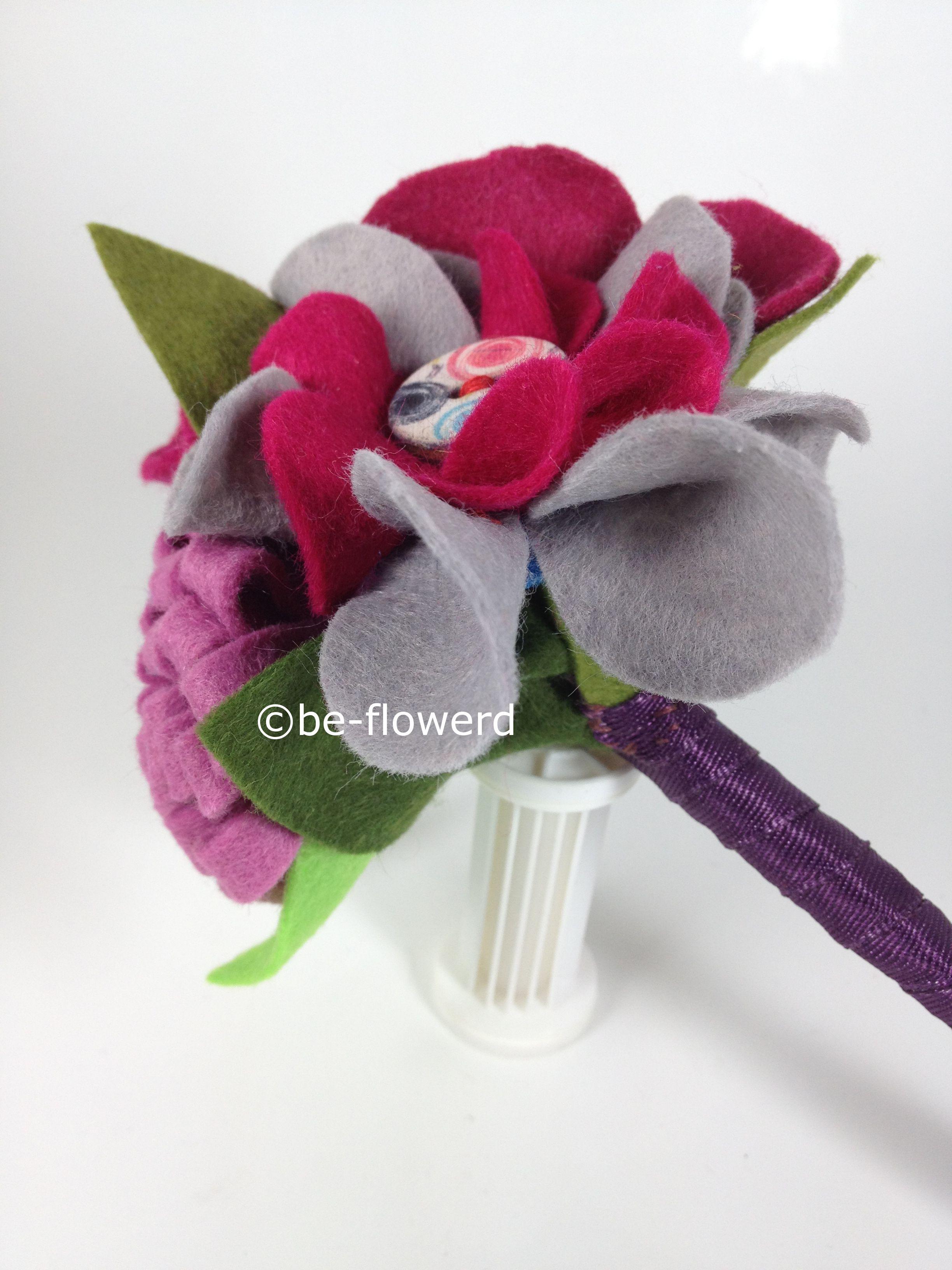 felt flower bouquet, felt brides bouquet. This is a small bouquet with felt flowers for the little girls ;-) Vilten bruidsboeket voor het bruidsmeisje. http://www.be-flowerd.nl/store/bruidsboeket2-1.html