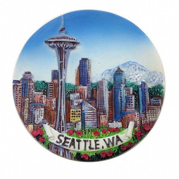 3D Seattle Magnet