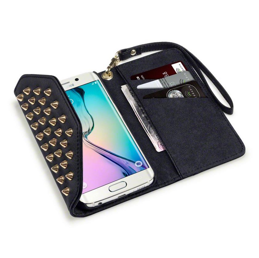 Studded Plånboksfodral till Samsung Galaxy S6 Edge - Svart  b3e954c383110