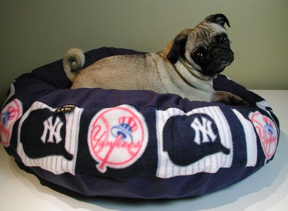 Dog Bed Ny Yankees Baseball 30 Inch Round Pet Cat Pillow By Cfbd