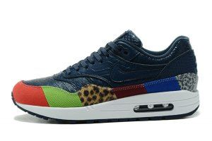 newest ccf66 4f0ed Mens Nike Air Max 1 Master Atmos Safari Navy Blue White Brown Multi-Color  910772 004 Running Shoes
