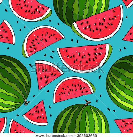Seamless vector pattern of watermelons on a blue background. Elements for design. Juicy watermelon summer fruit. Summer market. Good breakfast.