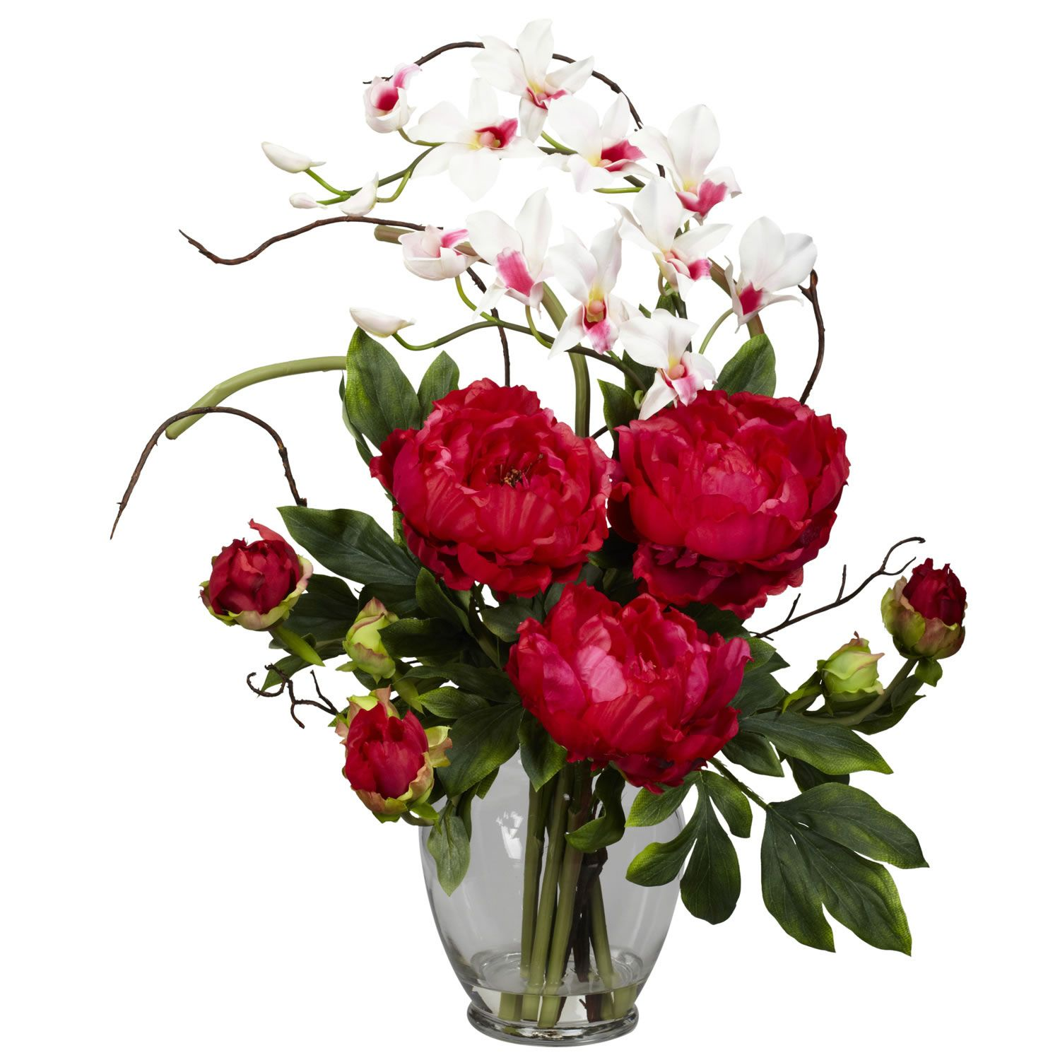 Pics Of Flower Arrangements red peony & orchid silk flower arrangement | flower arrangements