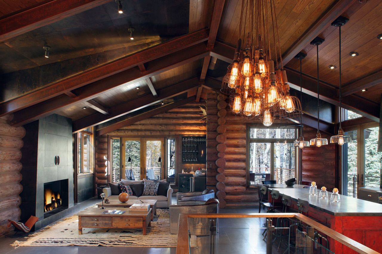Home Interior Design Modern Cabin Blends Rustic And Industrial