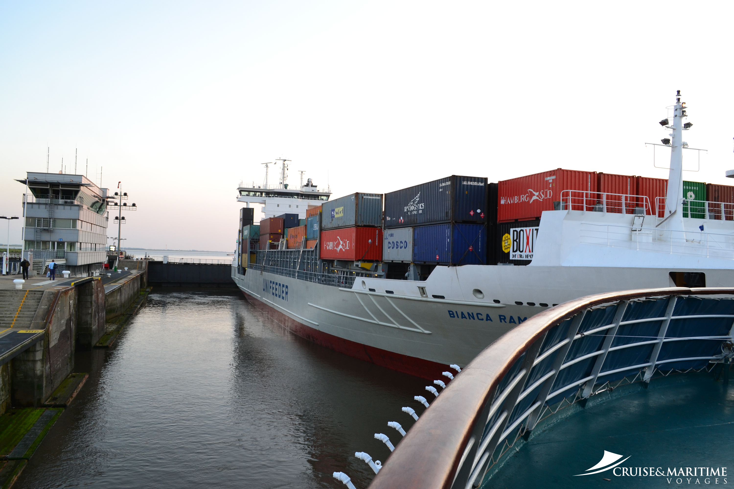Discovery yesterday started its transit of the Kiel Canal in Germany. It is the busiest artificial waterway in the world; over 43,000 vessels passed through in 2007, excluding small craft.