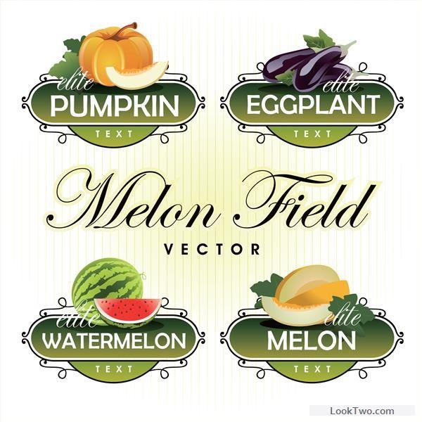 Fruit with vegetables labels design set 04 free vector download