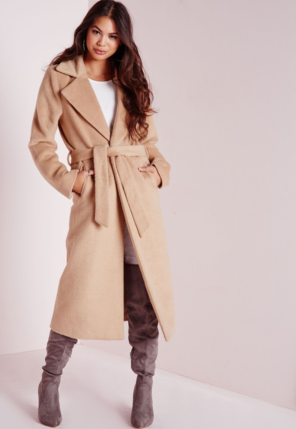 Missguided - Belted Brushed Wool Coat Camel | Love it, wear it ...