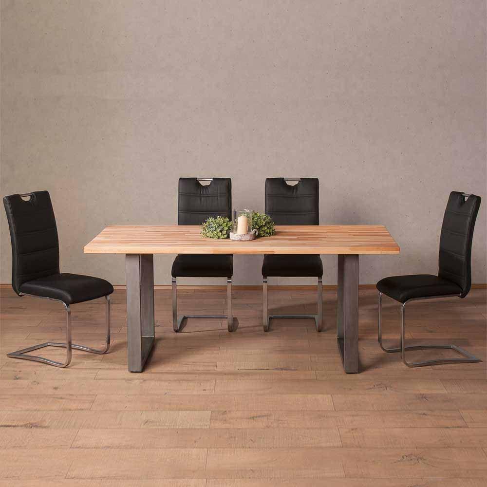 Esstisch mit Stühlen aus Buche Massivholz Edelstahl Schwarz ...