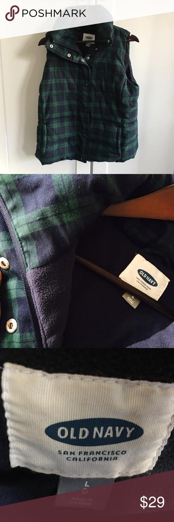 Hunter Green & Navy Plaid Fleece-lined Cozy Vest Hunter Green & Navy Plaid Fleece-lined