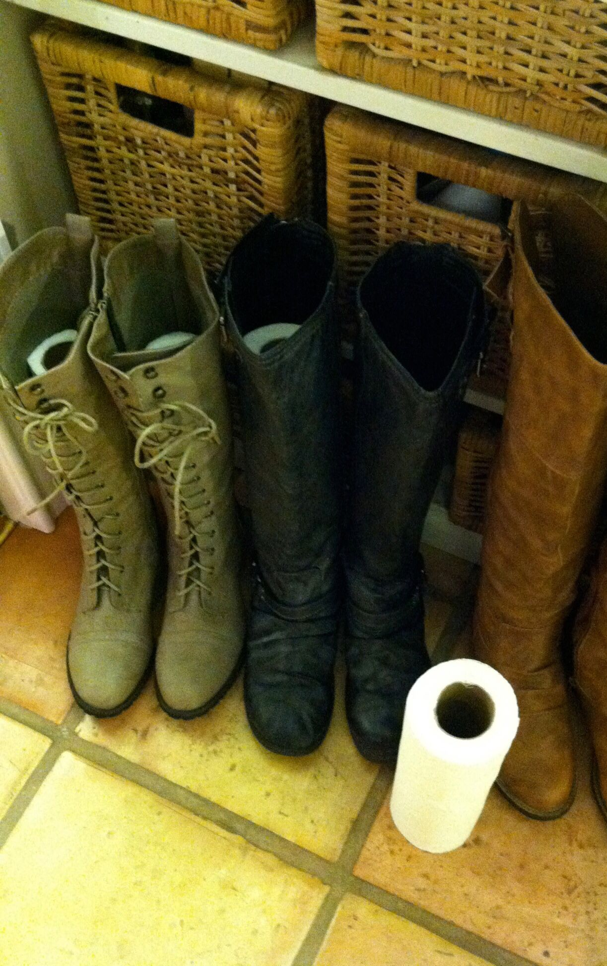 334e0e49c9 How to store your Boots in the closet  Use paper towel rolls inside your  boots to help keep their shape! You can customize the diameter so you dont  stretch ...
