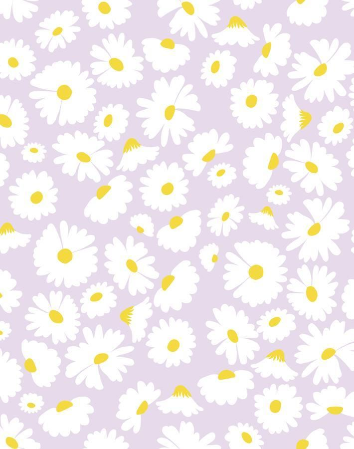 'Pop Daisy' Wallpaper by Wallshoppe - Lavender - Removable Panel - Sample