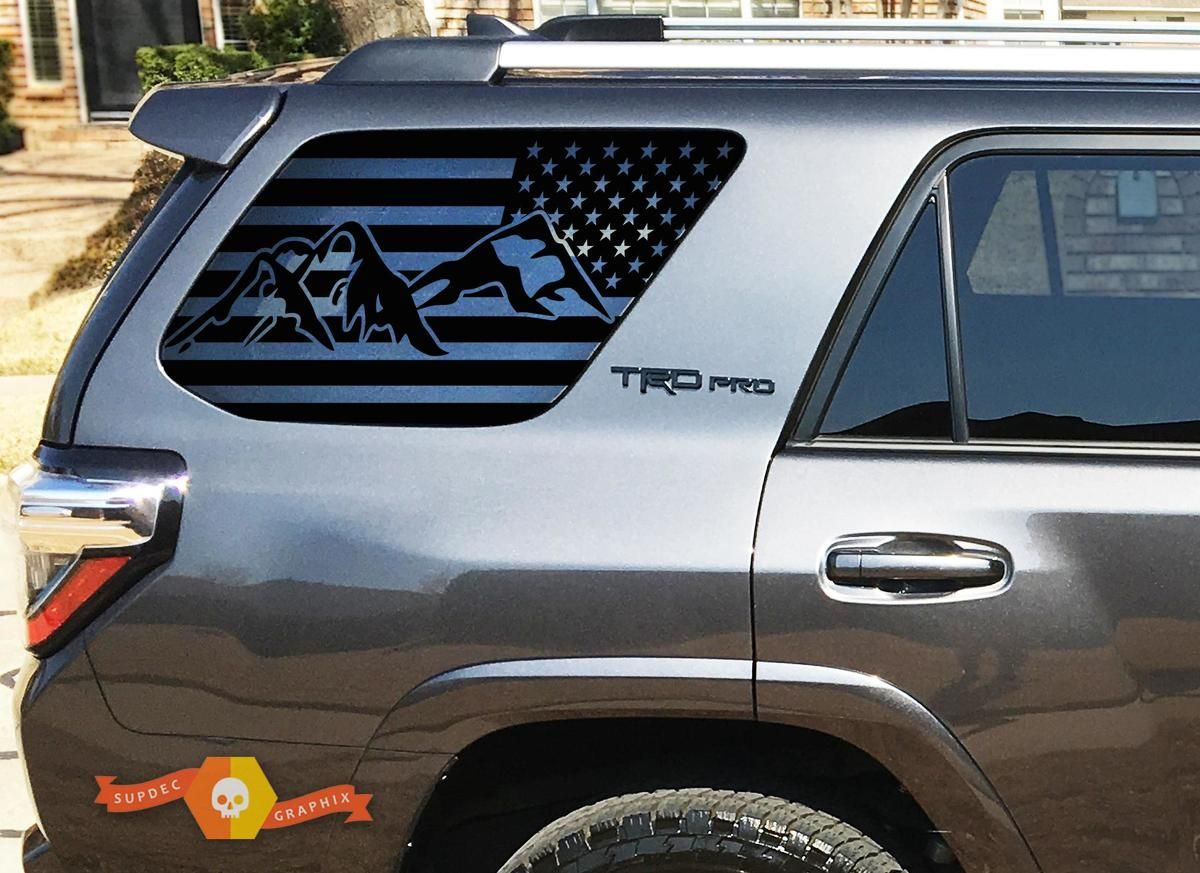 Toyota Tacoma American Flag Center Rear Window Decal 2018 Importequipment