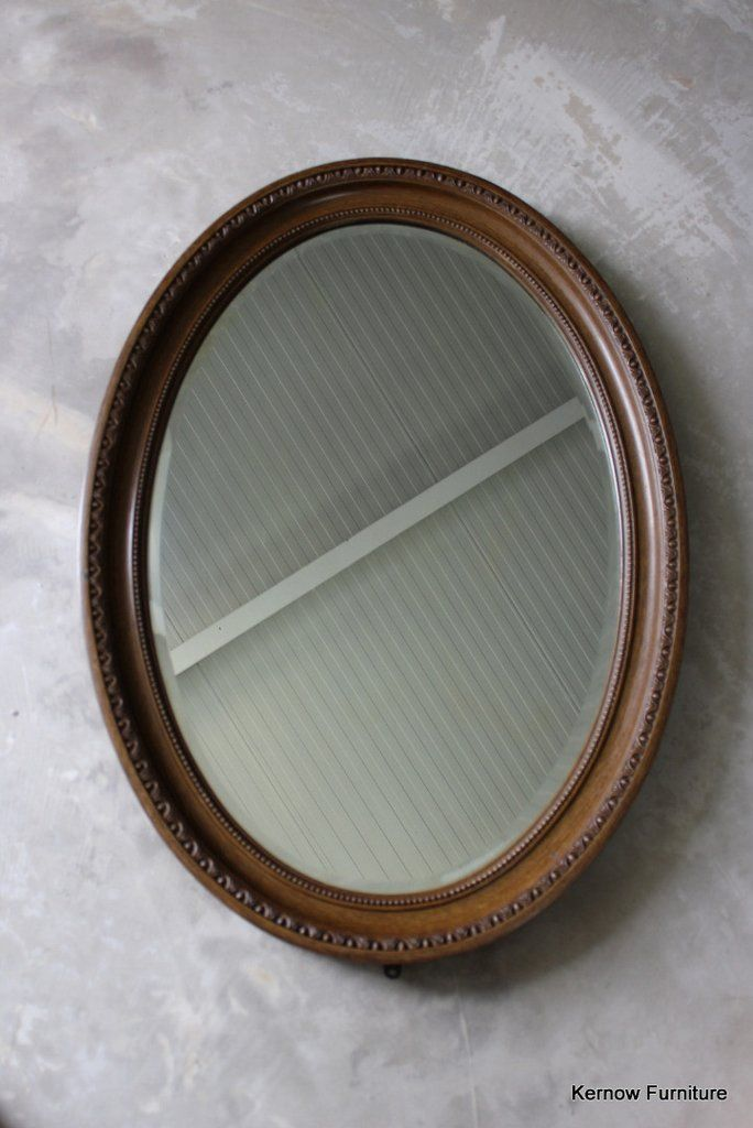 Large antique oval wall mirror Large oval mirror with original