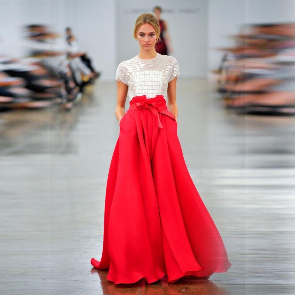 Cheap superior del dise o rojas faldas una l nea longitud for Disenos de faldas