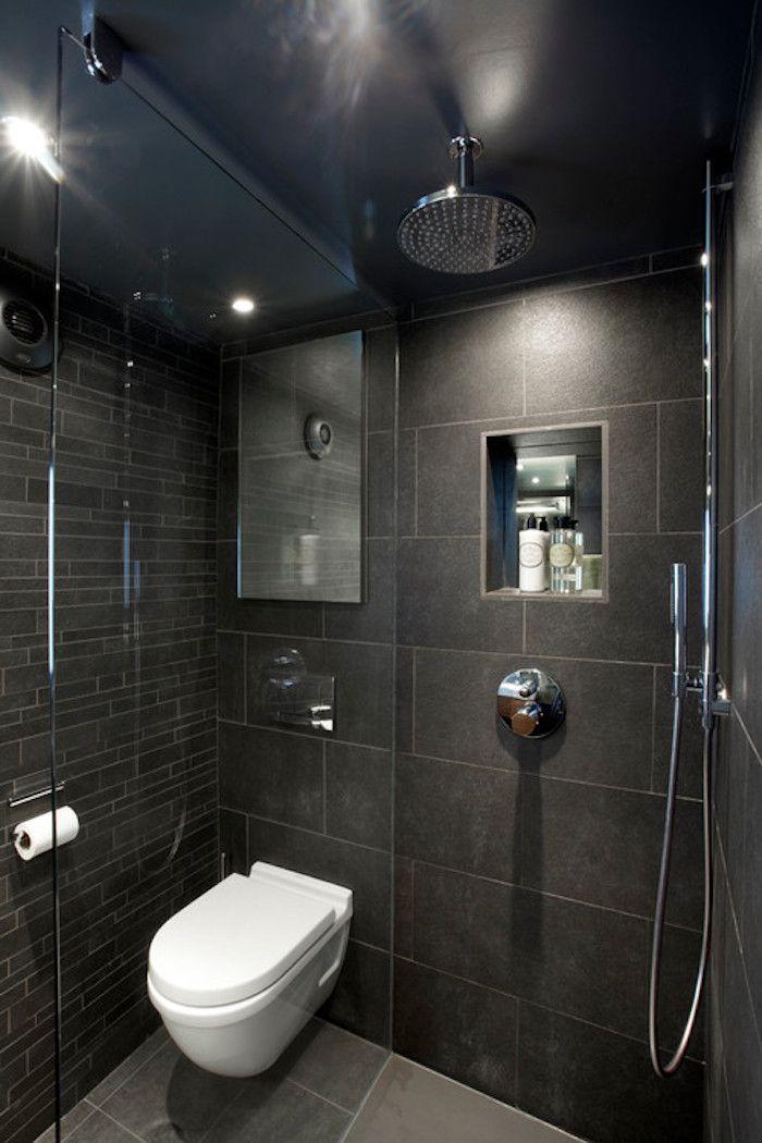 bäderideen für kleine bäder, schwarze badfliesen, dusche mit - badezimmer ideen für kleine bäder