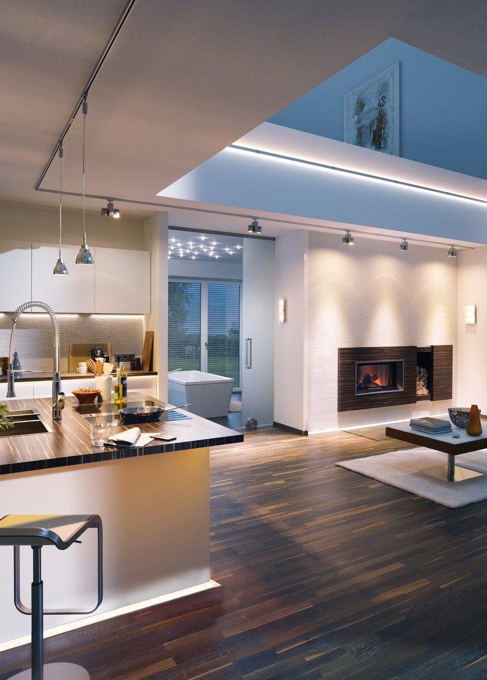 Schienensystem Urail Offener Wohnbereich Mit Bildern Beleuchtung Wohnzimmer Kuche Licht Haus Design