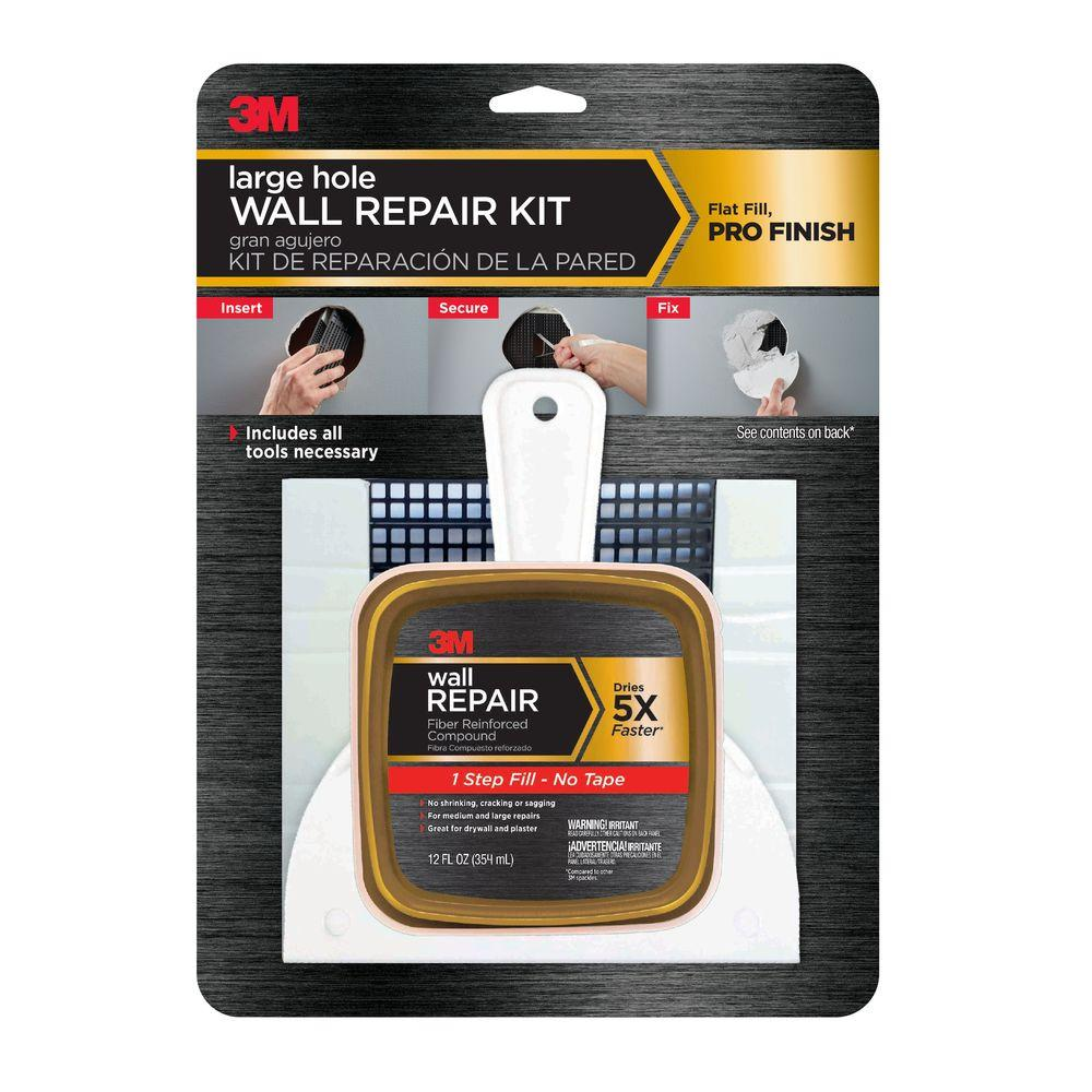 3m 12 Fl Oz Large Hole Wall Repair Kit Case Of 4 Fpp Kit Drywall Repair Repairing Plaster Walls Repair