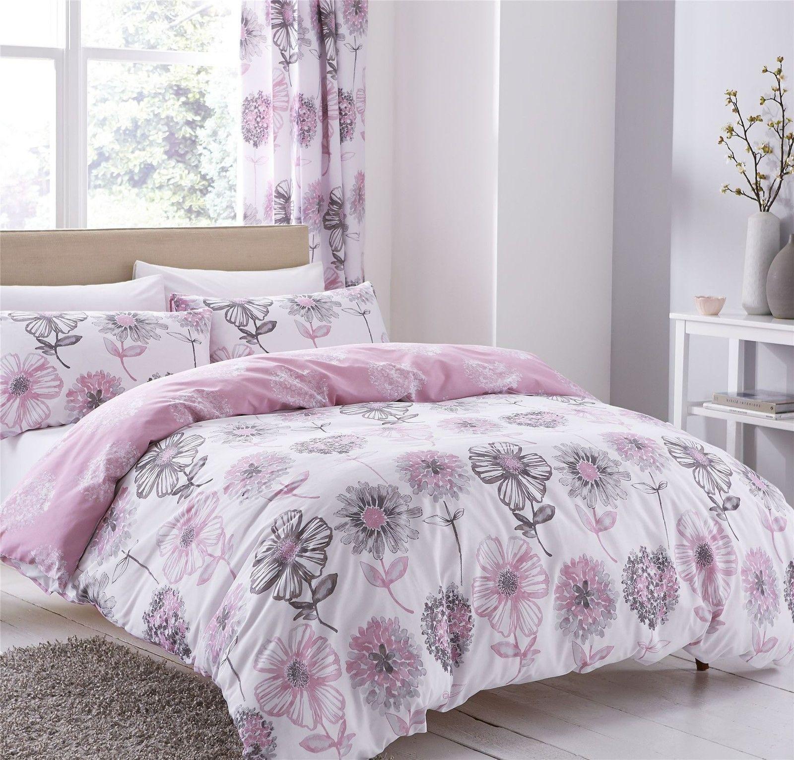 Watercolour Style Fl Flowers Pink Cotton Blend Double 6 Piece Bedding Set
