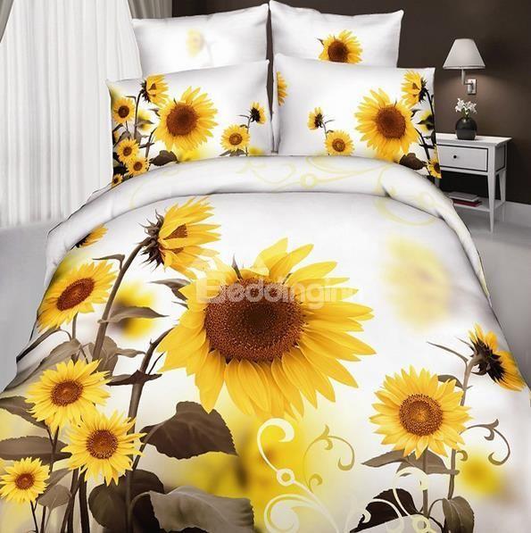New Arrival Cotton Skincare Optimistic Sunflower Print 4 Piece Bedding Sets/Duvet Cover Sets #sunflowerbedroomideas