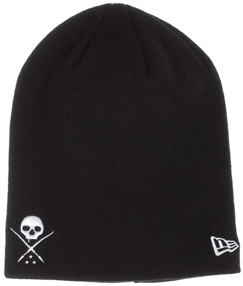 451daf7e121 The standard issue beanie has a sullen skull with crossed brushes  embroidered on this New Era woven hat. It also has a small New Era flag  embroidered on the ...