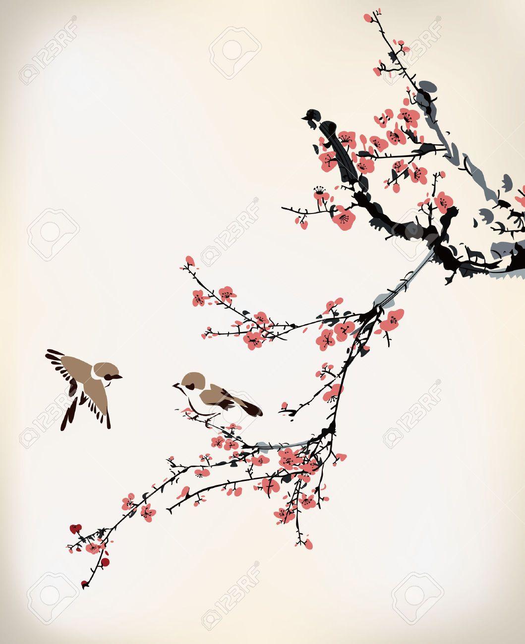 cherry blossom painting - Google Search | Plum blossom ...