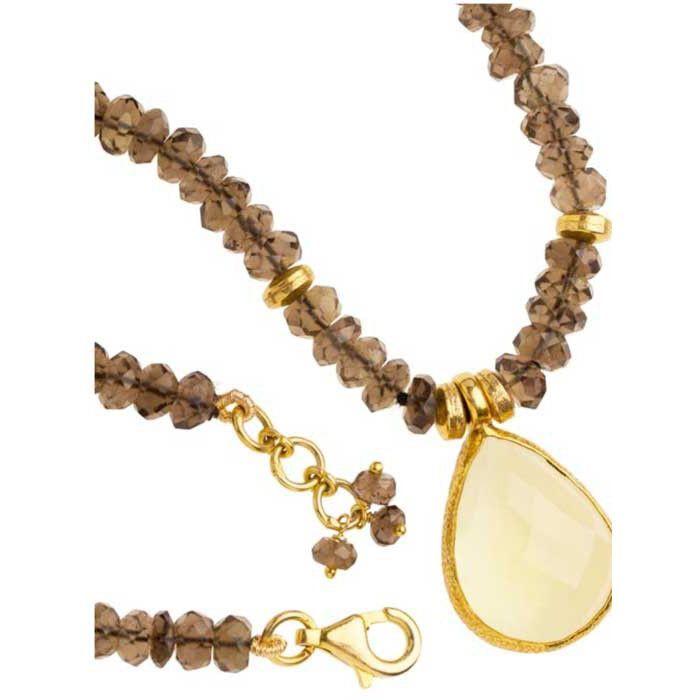Vasant Designs Smoky Quartz with Lemon Quartz Pendant Necklace