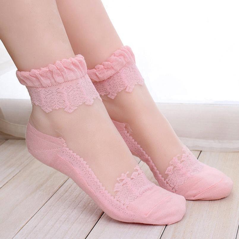 Women's Socks, Ja21 Ultra Crystal silk Lace Elastic Short