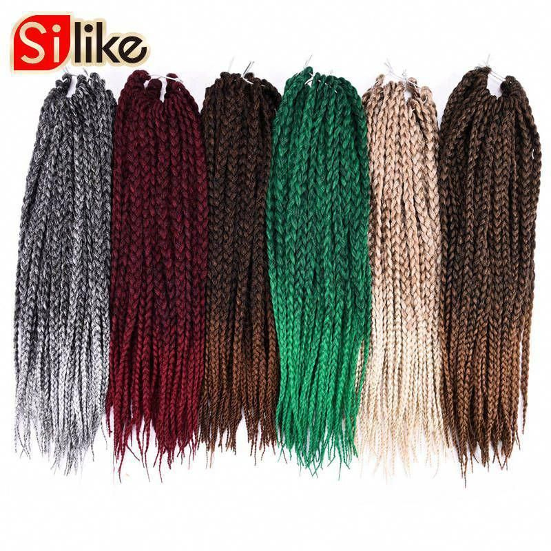 Silike 1 Pack/lot Ombre Black Gray 3S Small Box Braids Crochet Hair Extentions 24 Roots 18 Micro Crotchet Braiding Hairstyles #easylonghairstyles #microboxbraids #crotchetbraids