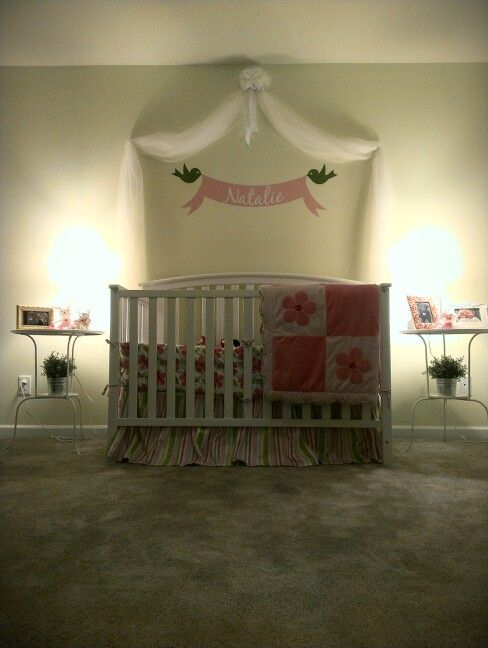 Over the crib diy canopy. Cost $4.99!!! Ikea sheer curtains $4.99 a
