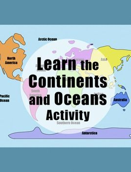 Learn the continents and oceans geography map activity this hands on geography and map activity teaches kids the continents and oceans of the worldbining map skills reading handwriting coloring cutting gumiabroncs Images